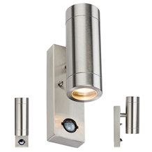 WALL4LSS 230V IP44 2 X GU10 Stainless Steel Up/Down Wall Light with Pir