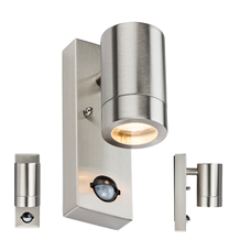 WALL5LSS 230V IP44 GU10 Stainless Steel Wall Light with Pir