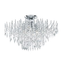 Waterfall Chrome 4 Light Semi-flush With Crystal Buttons & Drops