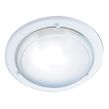 White Flush Light With White & Clear Glass Diffuser
