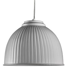 White Metal Dome Pendant Light With Ripple Detail