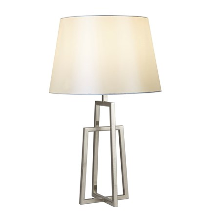 YORK TABLE LAMP - CROSSED FRAME, SATIN SILVER, WHITE TAPERED SHADE