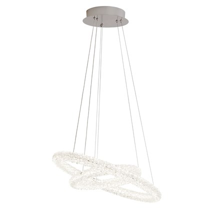 CIRCLE LED 2 RING CEILING PENDANT, CHROME, CLEAR CRYSTAL