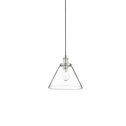 PYRAMID 1LT PENDANT, SATIN SILVER, CLEAR PYRAMID GLASS SHADE
