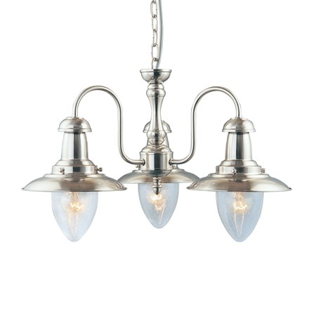 FISHERMAN - 3LT CEILING, SATIN SILVER WITH SEEDED GLASS SHADES