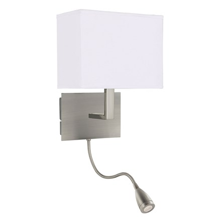 WALL LIGHT ADJUSTABLE - 2LT W/BRACKET, LED FLEXI ARM, SATIN SILVER, WHITE SHADE