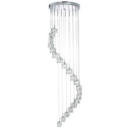ICE CUBE (DIM) LED  - 20LT MULTI-DROP (HEIGHT 180cm), CLEAR GLASS, CHROME