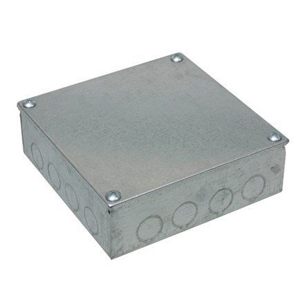 """Adaptable Box 4"""" x 4"""" x 3"""" with Knockouts (Galvanised)"""