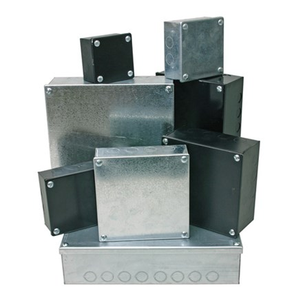 """Adaptable Box 9"""" x 9"""" x 4"""" with Knockouts (Galvanised)"""