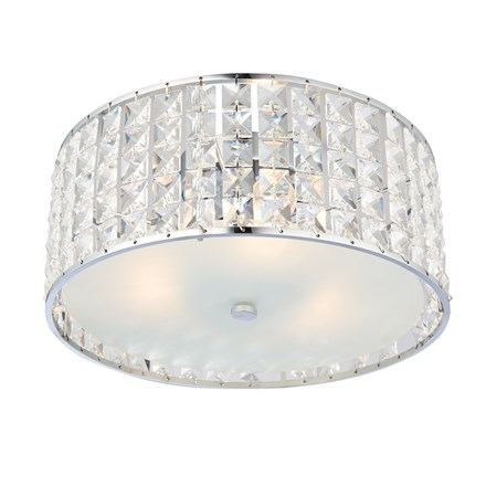 Belfont Chrome Crystal Detailed Bathroom 3 Light Flush IP44 18W Endon 61252