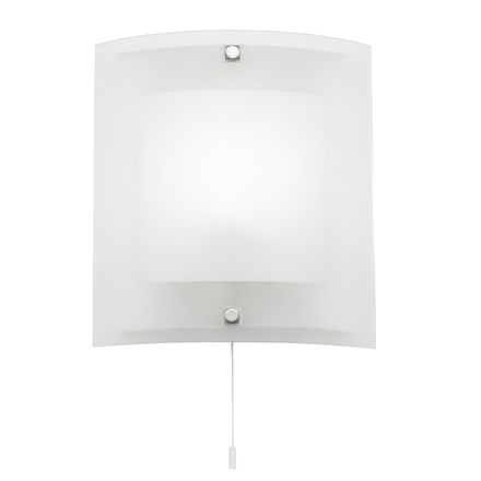 Blake Glass Shade with Pull Cord 1 Light Wall E14 60W Endon 143-WB