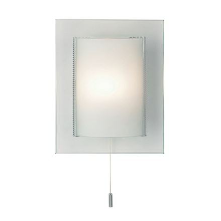Cabot Glass 1 Light Wall with Pull Cord G9 33W Endon 2011-WB