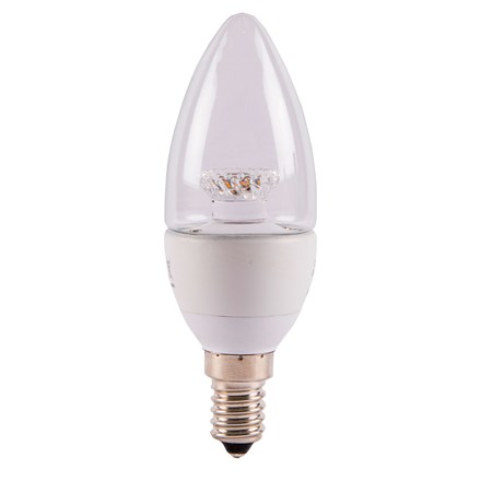 4W LED 35mm Dimmable Candle Clear - SES, 2700K