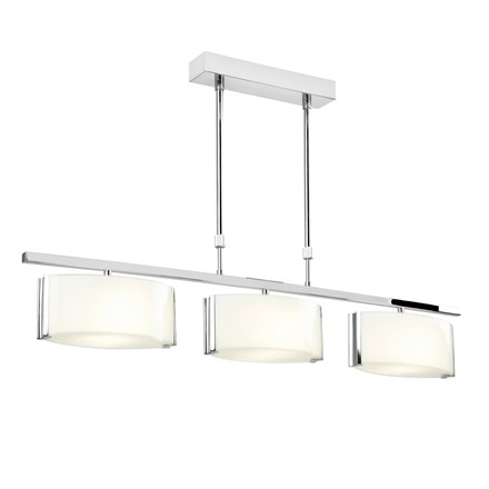 Clef Chrome with Frosted Glass Shades 3 Light Bar Semi Flush 33W Endon