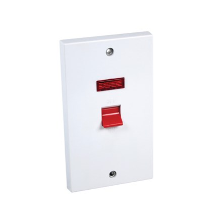 Cooker Switch 45Amp DP + Neon (Tall)