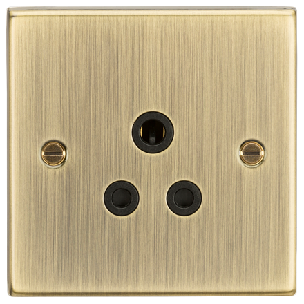 CS5AAB 5A Unswitched Socket - Square Edge Antique Brass Finish with Black Insert