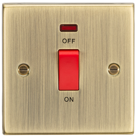 CS81NAB 45A DP Switch with Neon (single size) - Square Edge Antique Brass