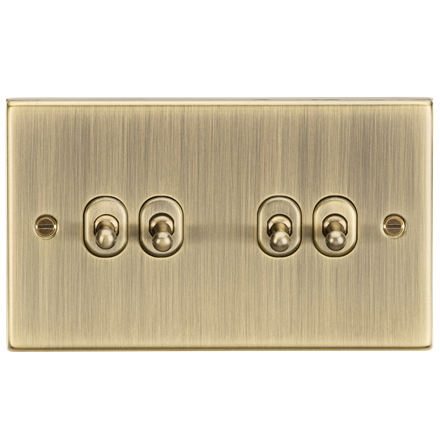 CSTOG4AB 10AX 4G 2 Way Toggle Switch - Square Edge Antique Brass