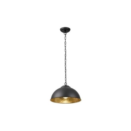 Colman Matt Black Shimmering Gold Leaf Inner 1 Light Pendant 60W Endon COLMAN-BL