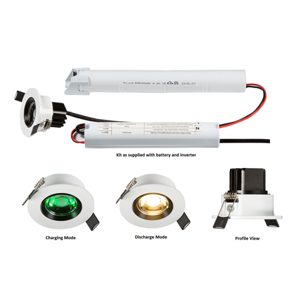 ENM5 230V IP20 5W LED  Emergency Downlight 6000K (non-maintained use only)