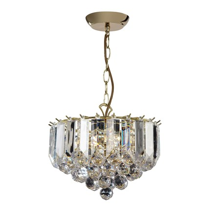Fargo Polished Brass Clear Acrylic Detailing 3 Light Small Pendant FARGO-12BP