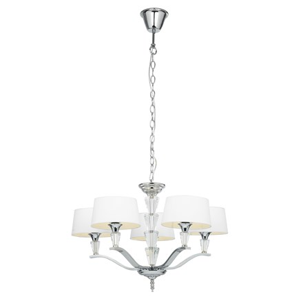 Fiennes Polished Chrome with White Shades 5 Light Pendant Endon FIENNES-5NI