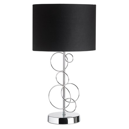 Finchley Polished Chrome Circles with Black Shade Table Lamp Endon FINCHLEY-TLCH