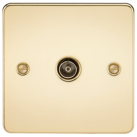 FP0100PB Flat Plate 1G TV Outlet (non-isolated) - Polished Brass