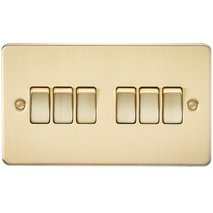 FP4200BB Flat Plate 10AX 6G 2-way switch - brushed brass