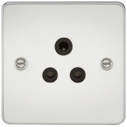 FP5APC Flat Plate 5A unswitched socket - polished chrome with black insert