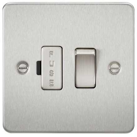 FP6300BC Flat Plate 13A switched fused spur unit - brushed chrome