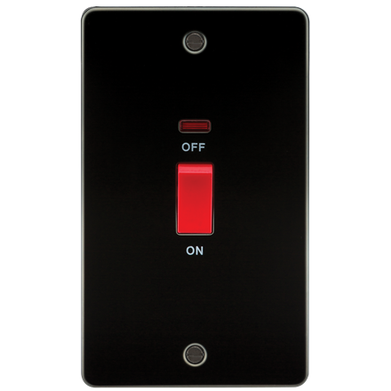 FP8332NGM Flat Plate 45A 2G DP switch with neon - gunmetal