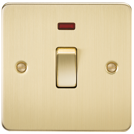 FP8341NBB Flat Plate 20A 1G DP switch with neon - brushed brass