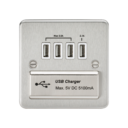 FPQUADBCW Flat Plate Quad USB charger outlet - Brushed chrome with white insert