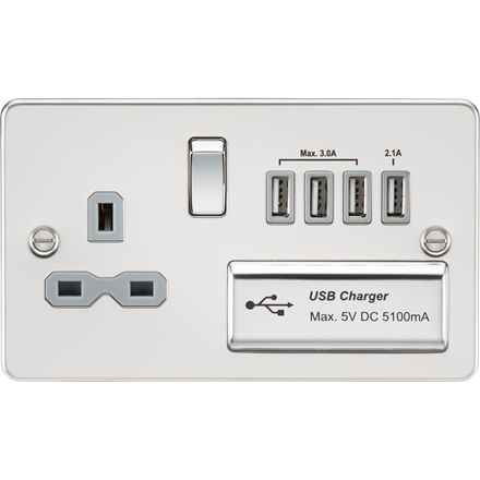 FPR7USB4PCG Flat plate 13A switched socket with quad USB charger - polished chro