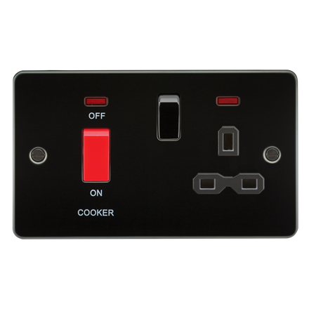 FPR8333NGM Flat plate 45A DP switch and 13A switched socket with neon - gunmetal