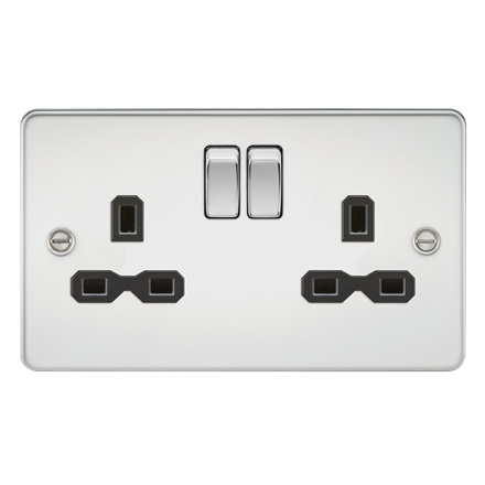 FPR9000PC Flat plate 13A 2G DP switched socket - polished chrome with black inse