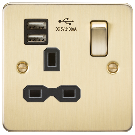 FPR9901BB Flat plate 13A 1G switched socket with dual USB charger (2.1A) - brush