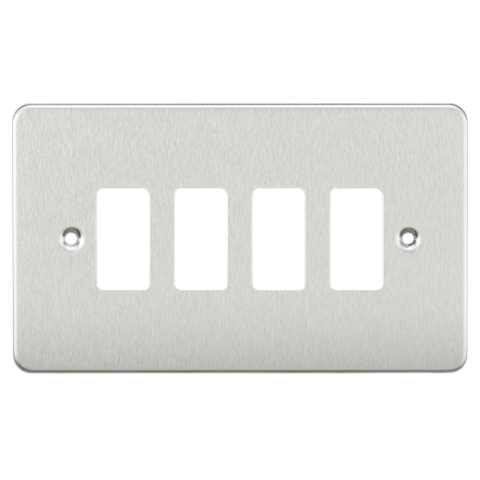 GDFP004BC Flat plate 4G grid faceplate - brushed chrome