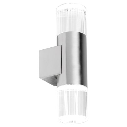 Grant Stainless Steel Crystal Glass Diffuser 2 Light Wall IP44 1W Daylight