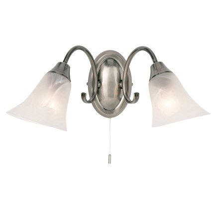 Hardwick Antique Silver Effect 2 Light Wall Frosted Glass Shade Endon 144-2AS