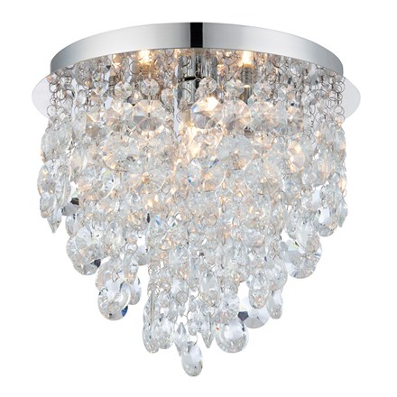 Kristen 3 Light Flush Chrome Effect Crystal Droplets Bathroom IP44 Endon 61233