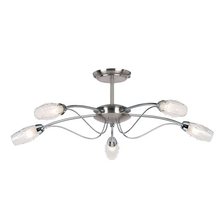 Mercury Satin Chrome 5 Light Semi Flush Endon 9009-5SC