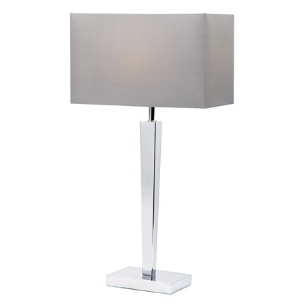 Moreto Mirrored Table Lamp with Grey Faux Silk Shade Endon MORETO