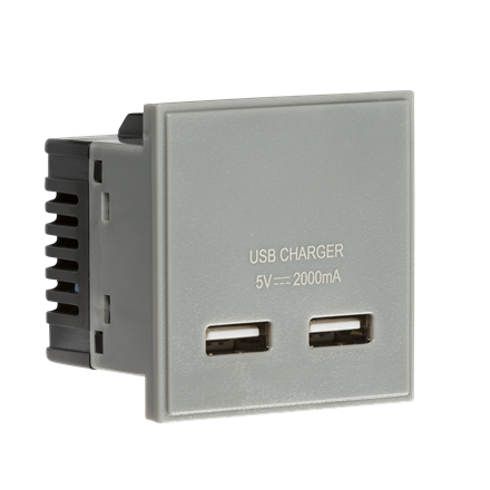 NETUSBGY Dual USB charger (2A) Module 50 x 50mm - Grey