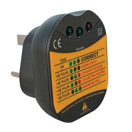 Professional Ring Mains Socket Tester Black Clear LED Indicator of Wiring Errors