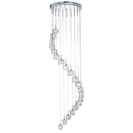 Sculptured Ice Chrome 20 Light Dingle Dangle Pendant With Ice Cube Glass
