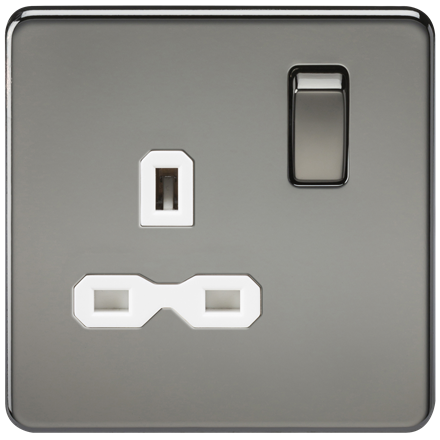 SFR7000BNW Screwless 13A 1G DP switched socket - black nickel with white insert