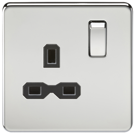 SFR7000PC Screwless 13A 1G DP switched socket - polished chrome with black inser
