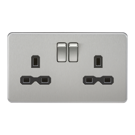 SFR9000BC Screwless 13A 2G DP switched socket - brushed chrome with black insert